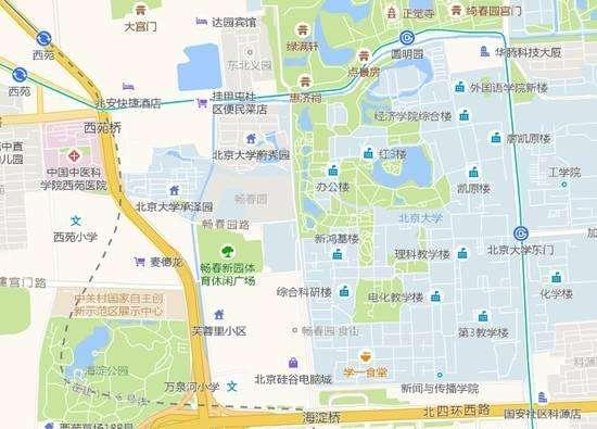 地图上与地铁线路相邻的北京大学校园.